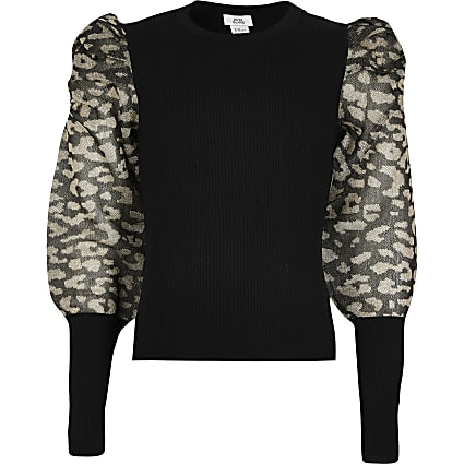 Girls black sheer leopard puff sleeve jumper