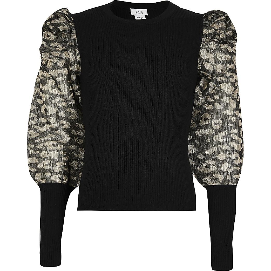 Girls black sheer leopard puff sleeve jumper