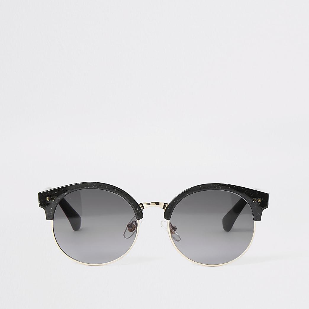 Girls black shimmer round sunglasses
