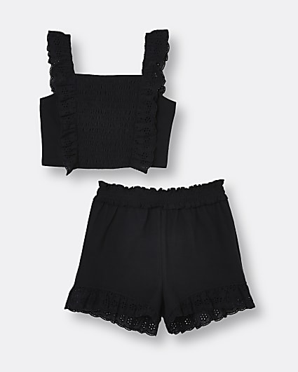 Girls black shirred broderie shorts outfit