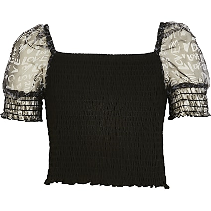 Girls black shirred organza sleeve top