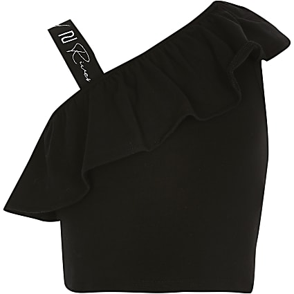 Girls black shoulder crop top