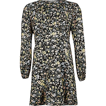Girls black shoulder pad floral print dress