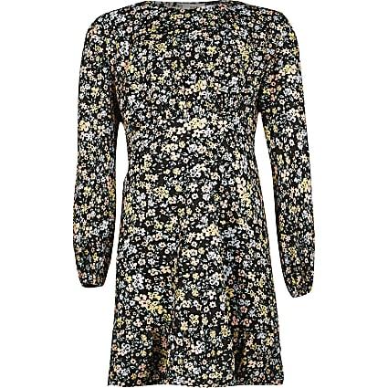 Girls black shoulder pad floral print dress