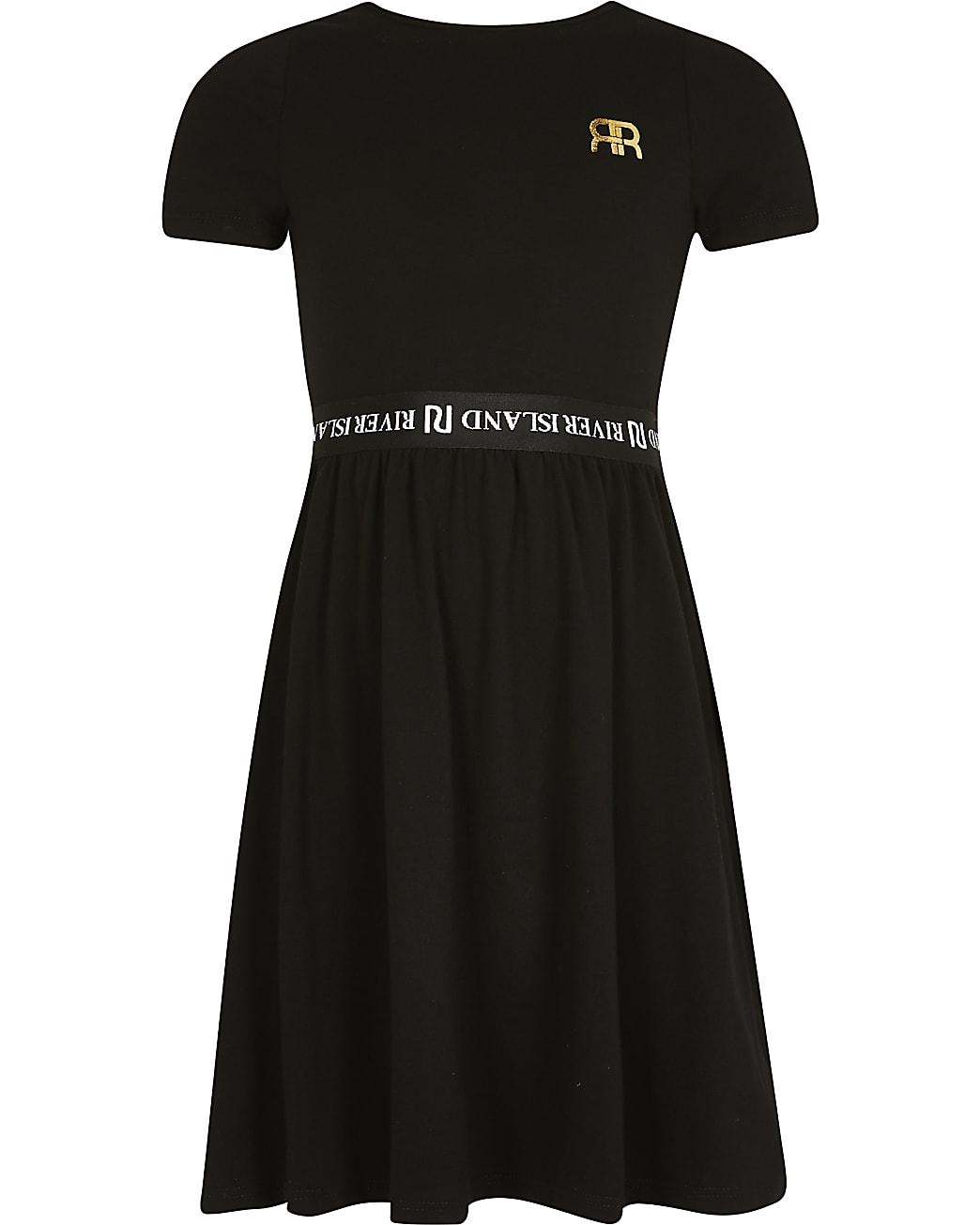 Girls black skater dress