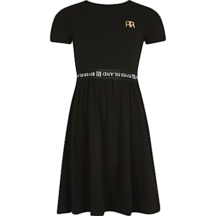 Girls black skater dress