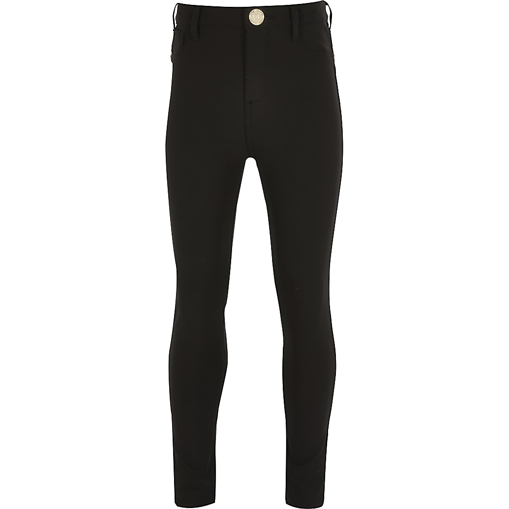 Girls black skinny techno trousers