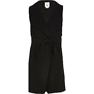 Zwarte mouwloze dusterjas voor meisjes