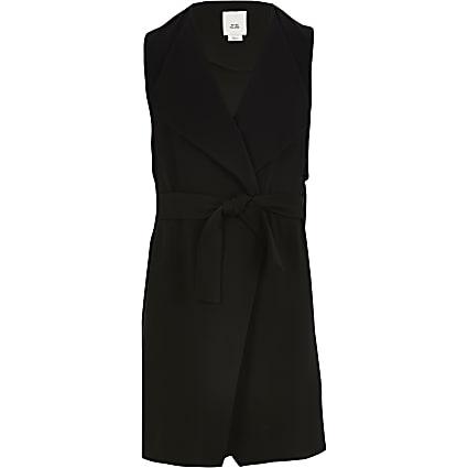 Girls black sleeveless duster jacket