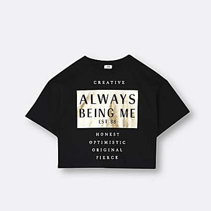 Girls black slogan print t-shirt