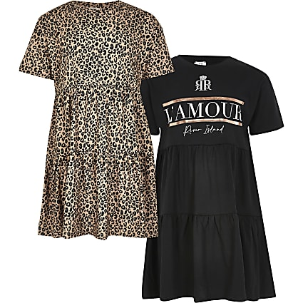 Girls black smock 2 pack dress