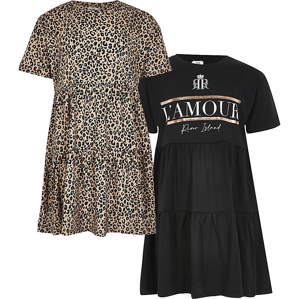 Girls black smock 2 pack dress
