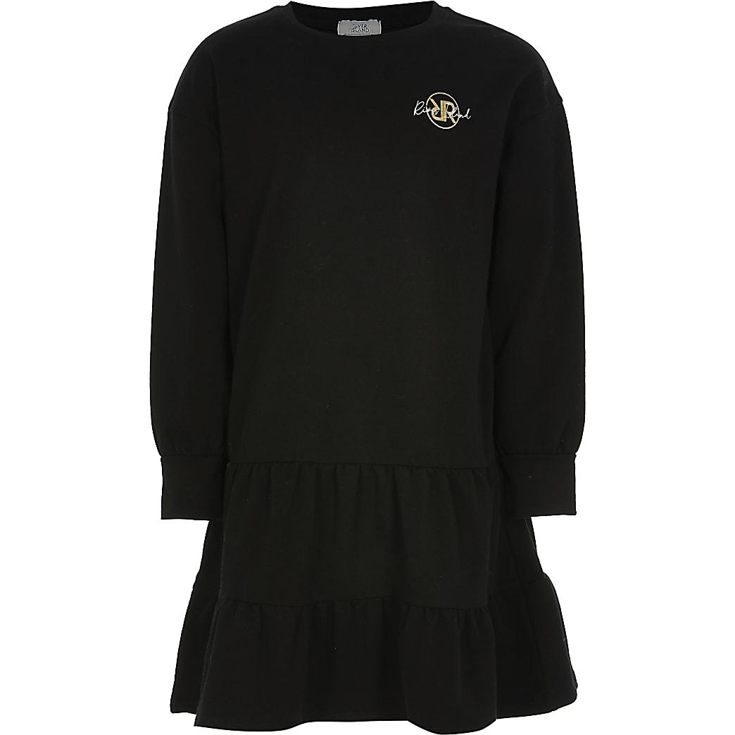 Girls black smock dress