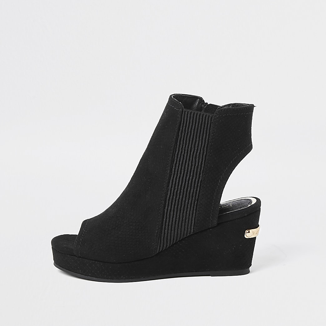 Girls black snake wedge shoeboots