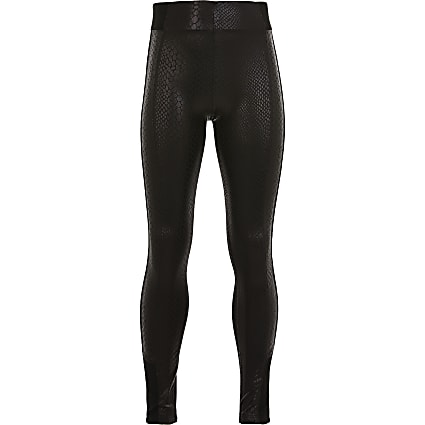 Girls black snake wet look leggings