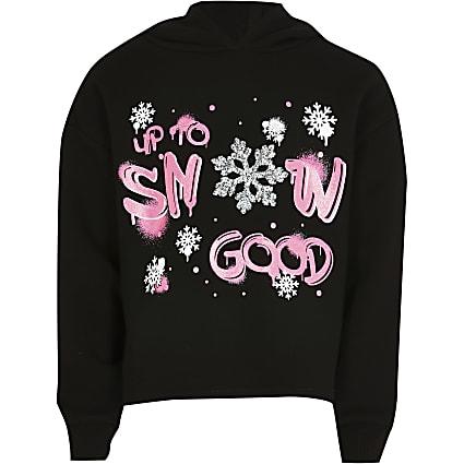 Girls black 'Snow good' hoodie