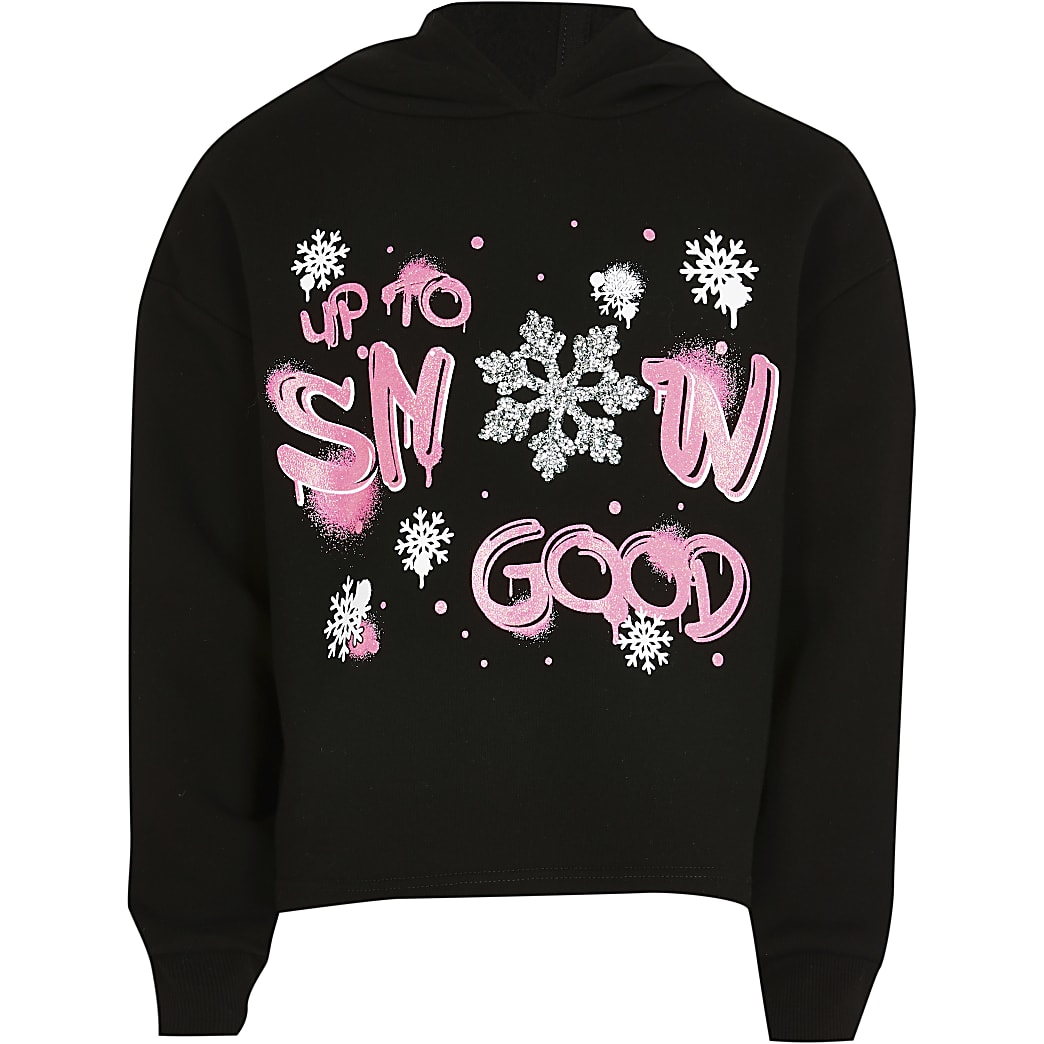 Girls black 'Snow good' hoodie