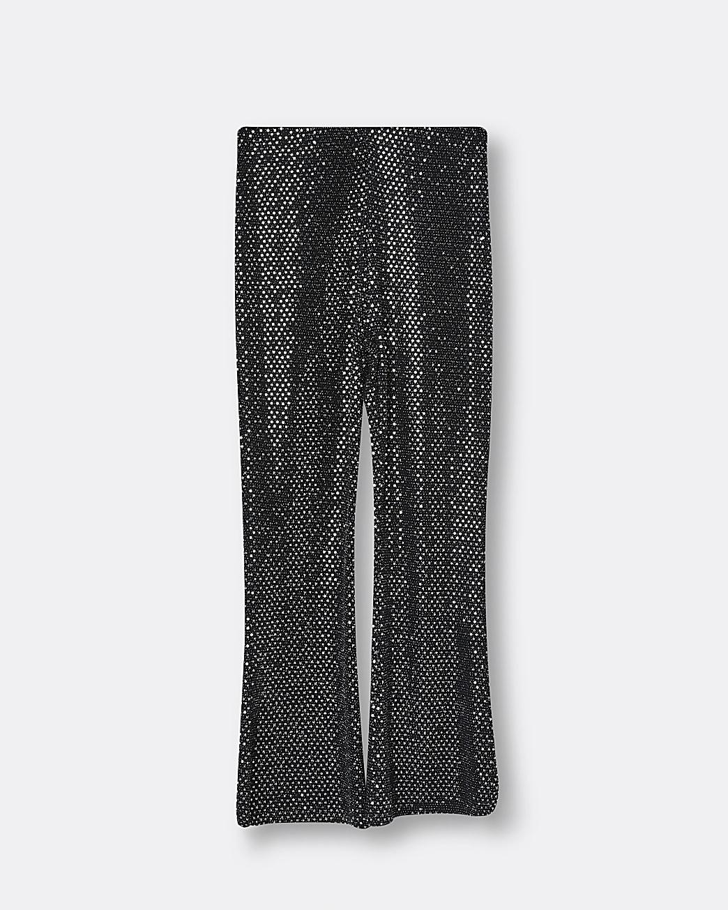 Girls black sparkle flared leggings