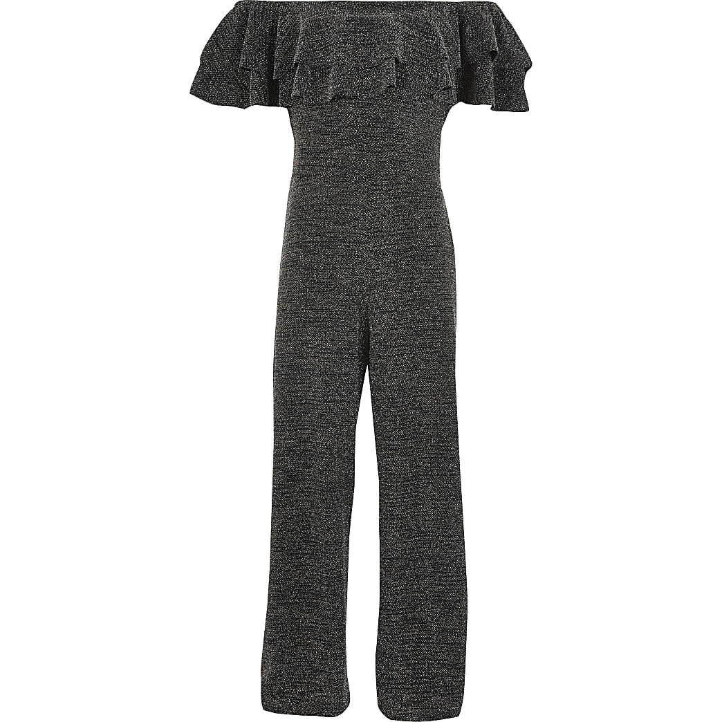 Girls black sparkle frill bardot jumpsuit