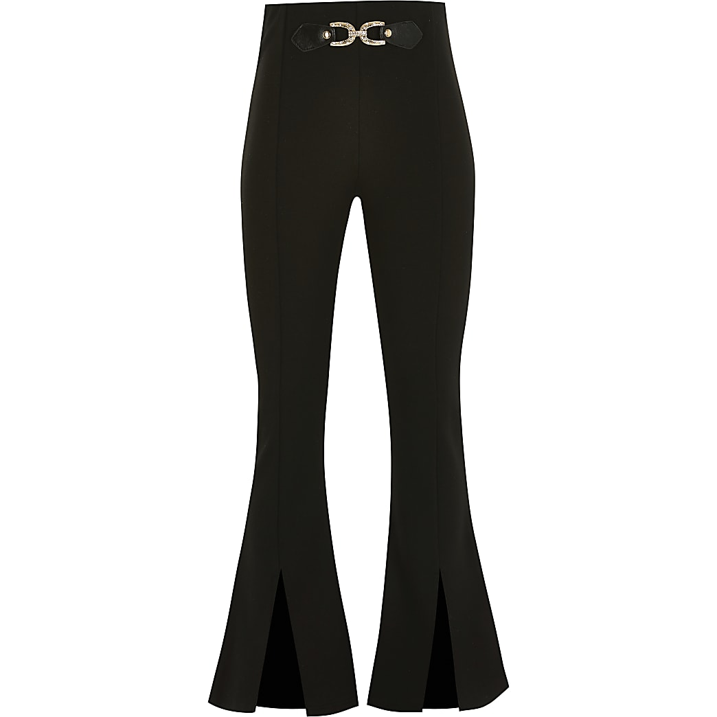 Girls black split kick flared trousers