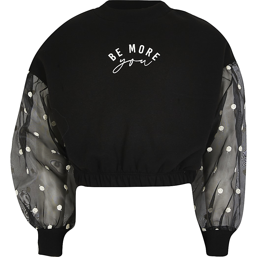 Girls black spot mesh sleeve sweatshirt