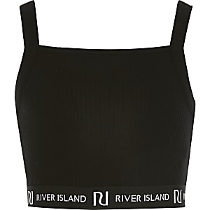 Kurzes RI-Trägertop in Schwarz mit geradem Ausschnitt für Mädchen