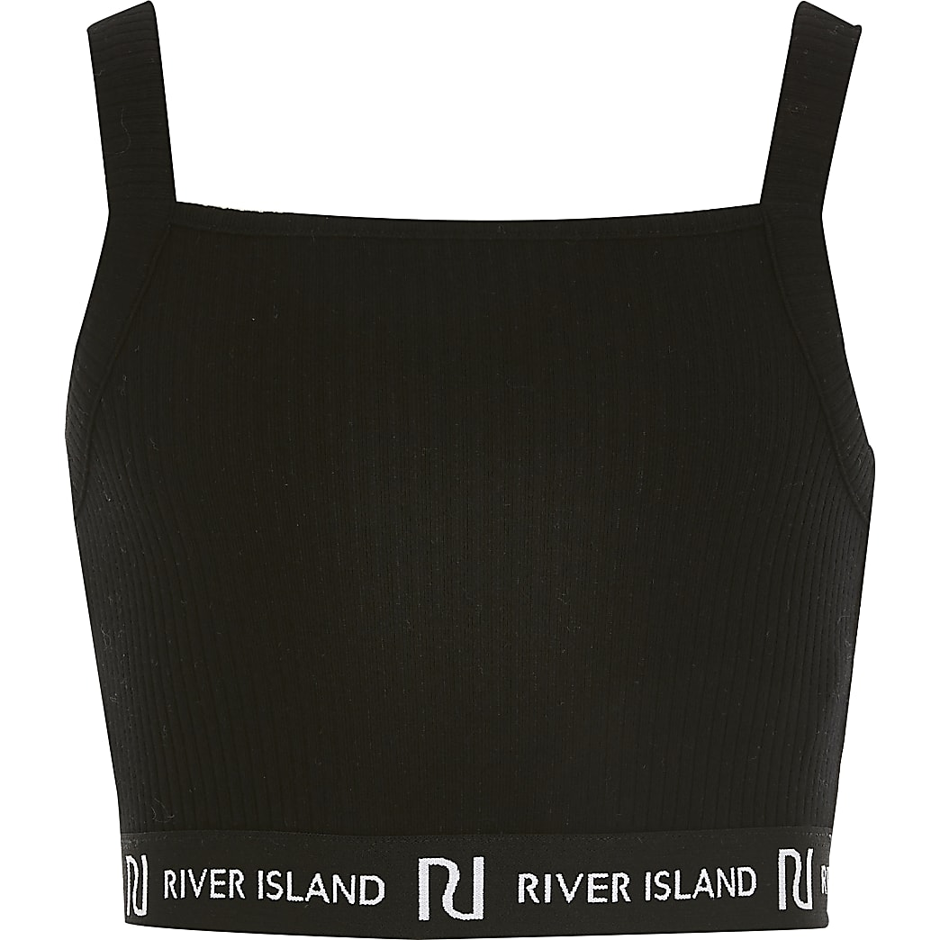 Girls black square neck RI cropped vest