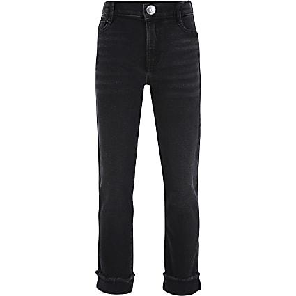 Girls black straight leg turn up jeans