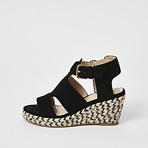 Girls black strappy wedge sandals