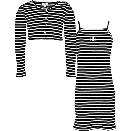 Girls black stripe dress with cardigan