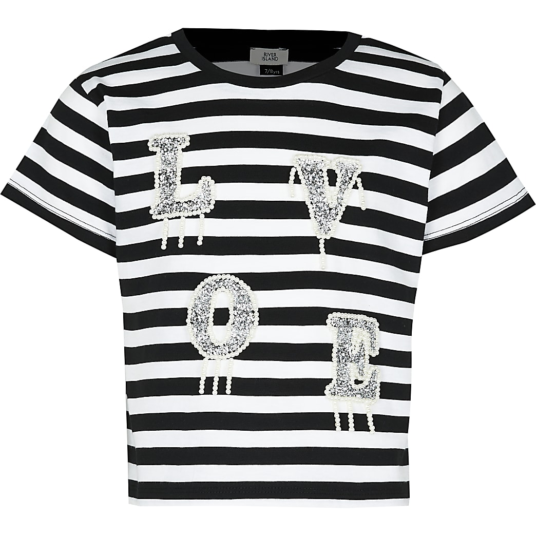 Girls black stripe love t-shirt