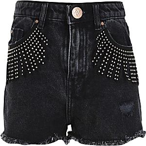 Girls black studded fringed shorts