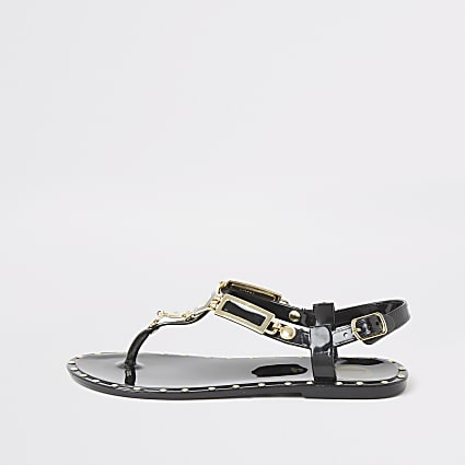Girls black studded jelly sandals