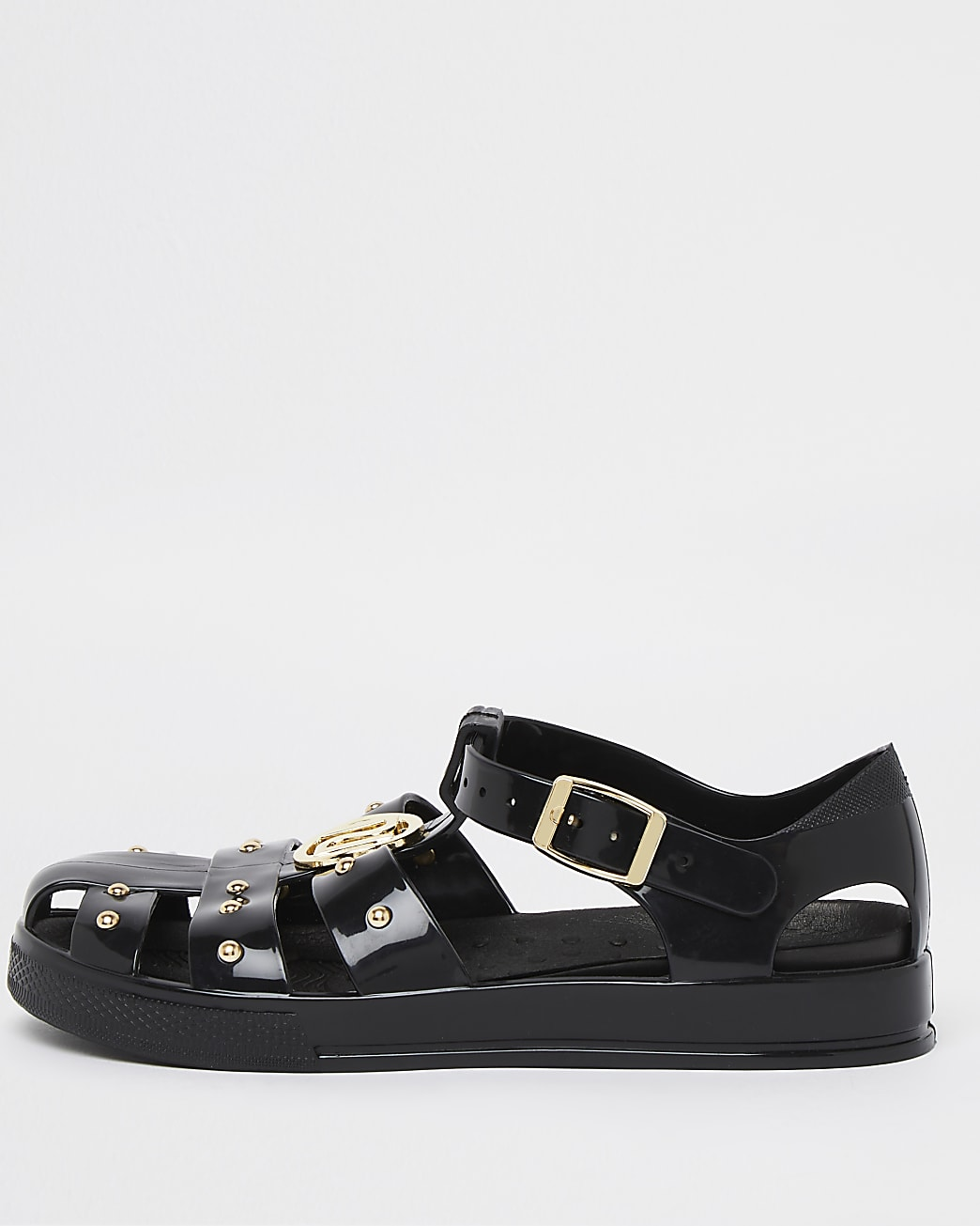 Girls black studded jelly shoes