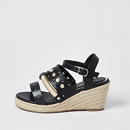 Girls black studded rope wedge sandals