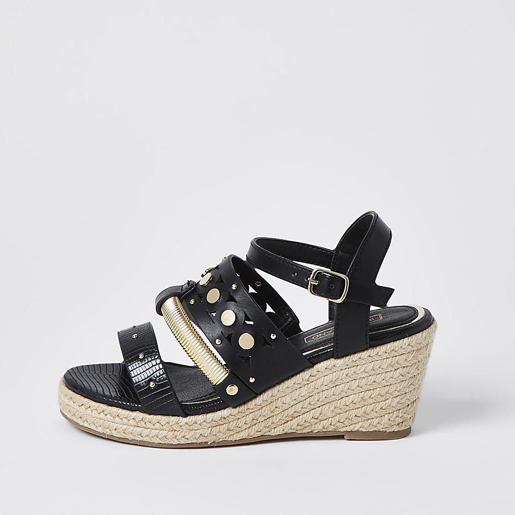 Girls black studded rope wedge sandals