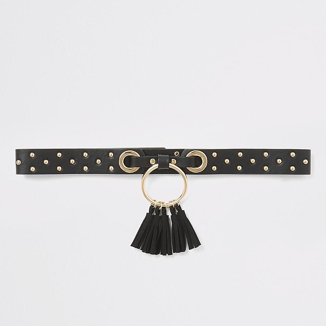 Girls black studded tassel circle belt