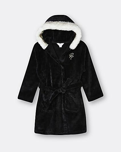 Girls black 'Sweet Dreams' cosy hooded robe