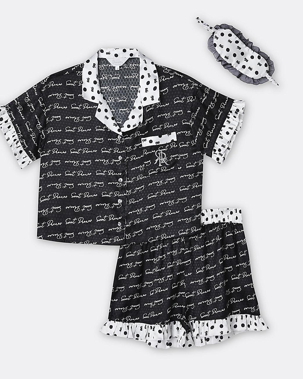 Girls black 'Sweet Dreams' satin pyjama set
