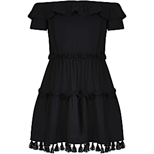 Girls black textured bardot ruffle dress