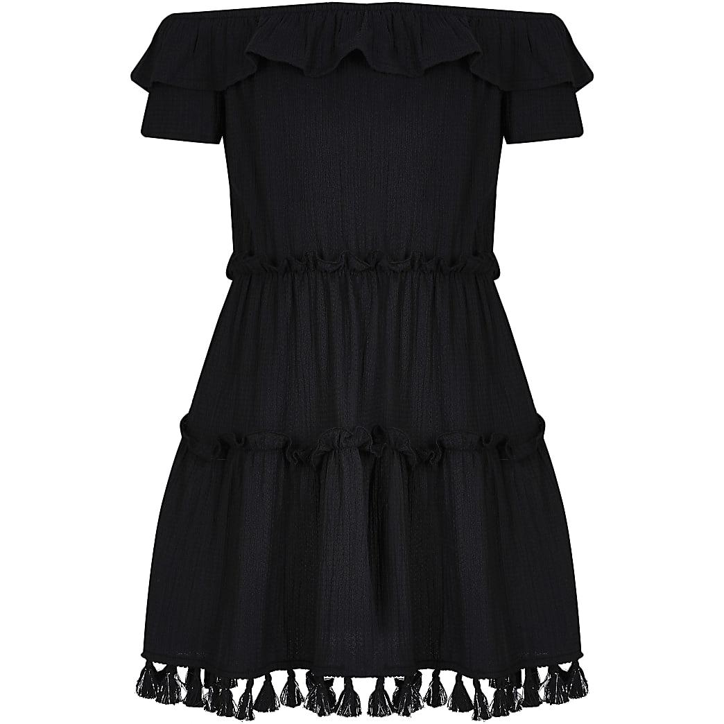 Girls black textured bardot ruffle dress