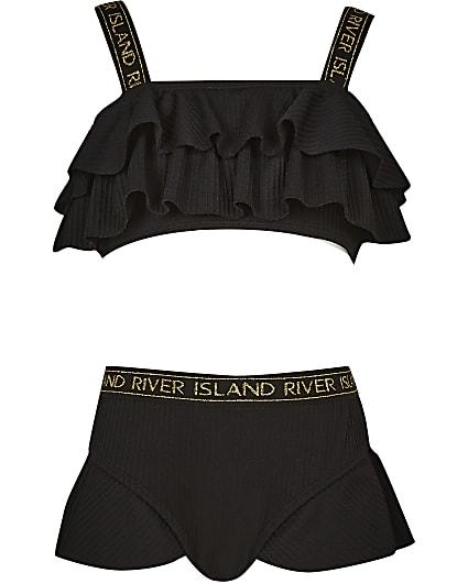 Girls black textured frill bikini set
