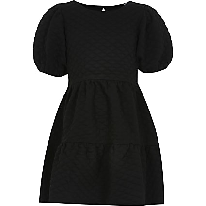 Girls black textured smock dress