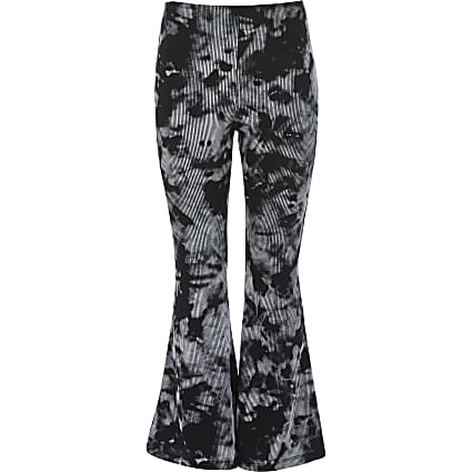 Girls black tie dye flare trousers