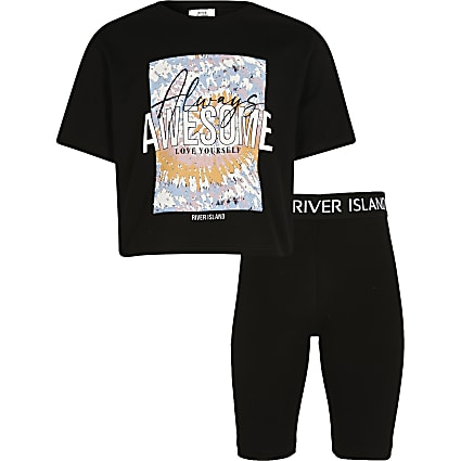 Girls black tie dye t-shirt and shorts outfit