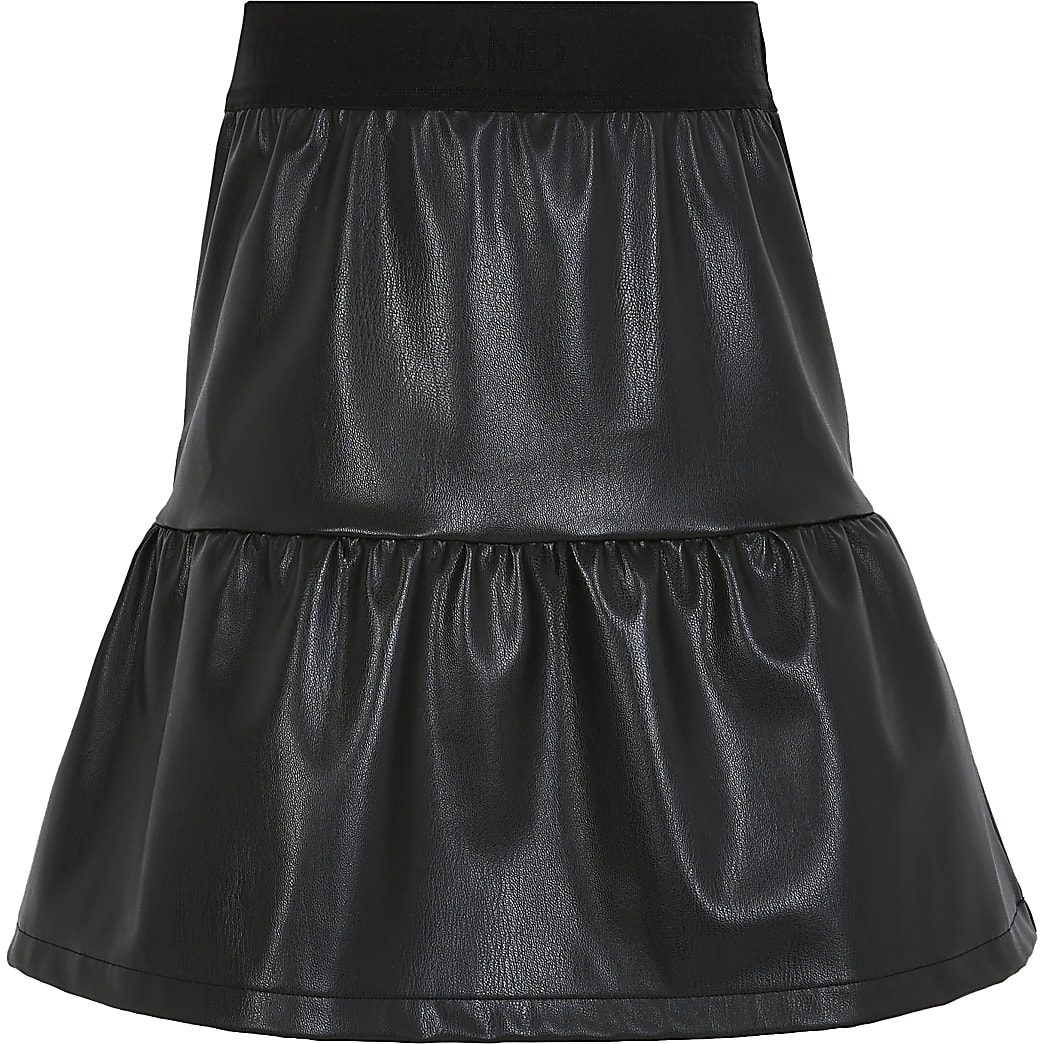 Girls black tiered faux leather mini skirt