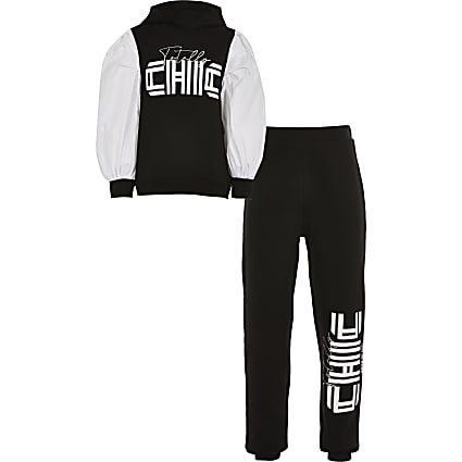Girls black 'Totally chic' tracksuit