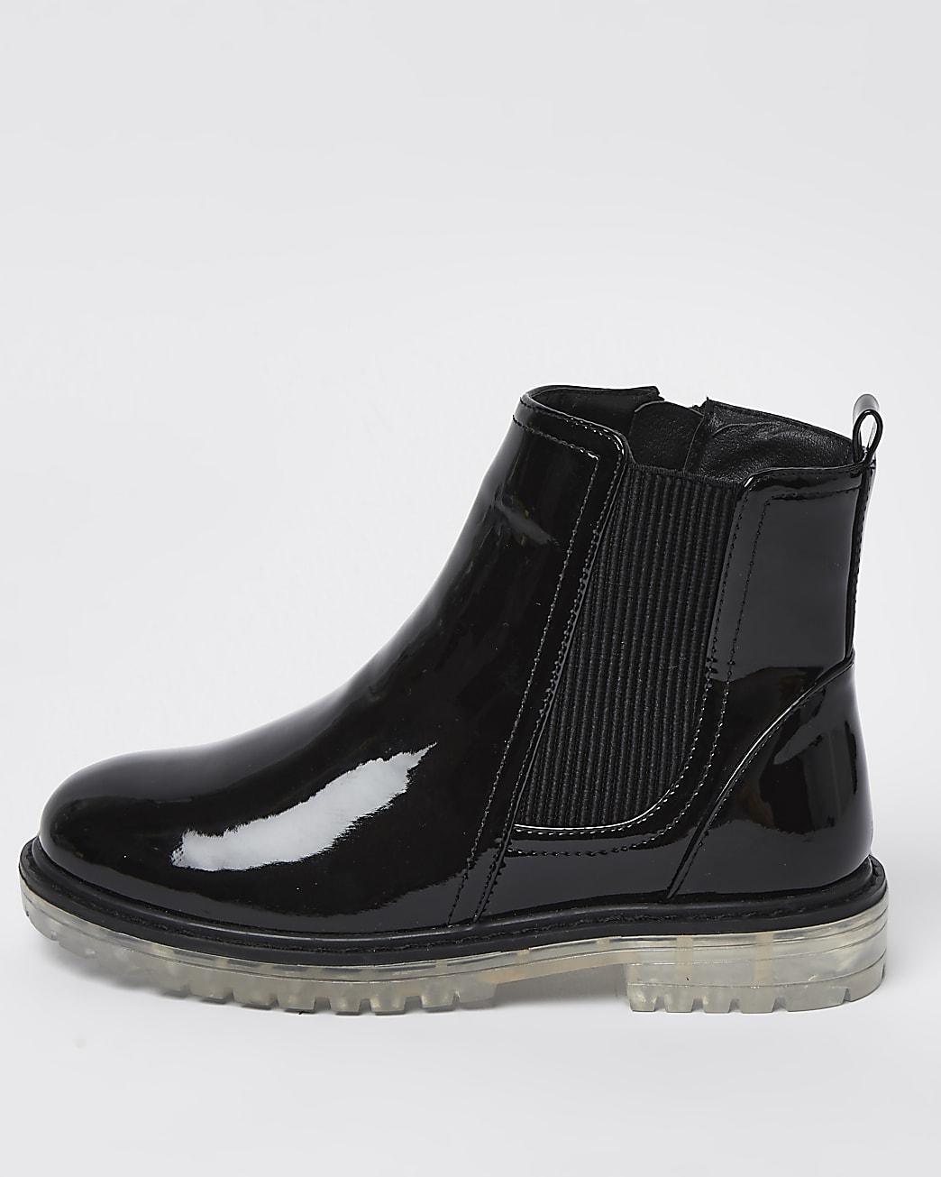 Girls black translucent sole boots