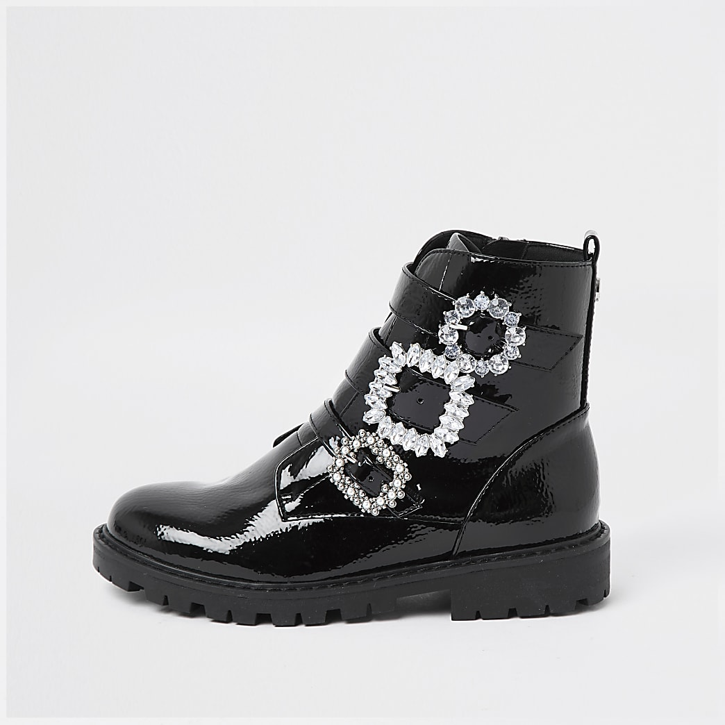 Girls black triple bling buckle ankle boots