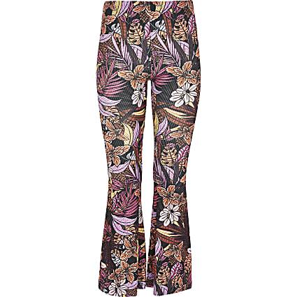 Girls black tropical print flare trousers